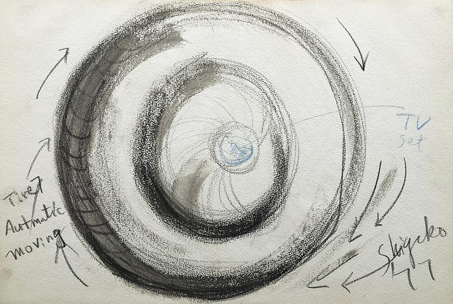Shigeko Kubota | Tire automatic moving | 1977 | drawing | basedonart gallery