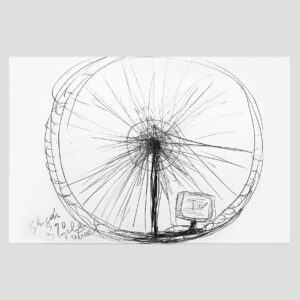 Shigeko Kubota | Bicycle wheel | Drawing | Pencil on glossy paper| 1990 | basedonart gallery