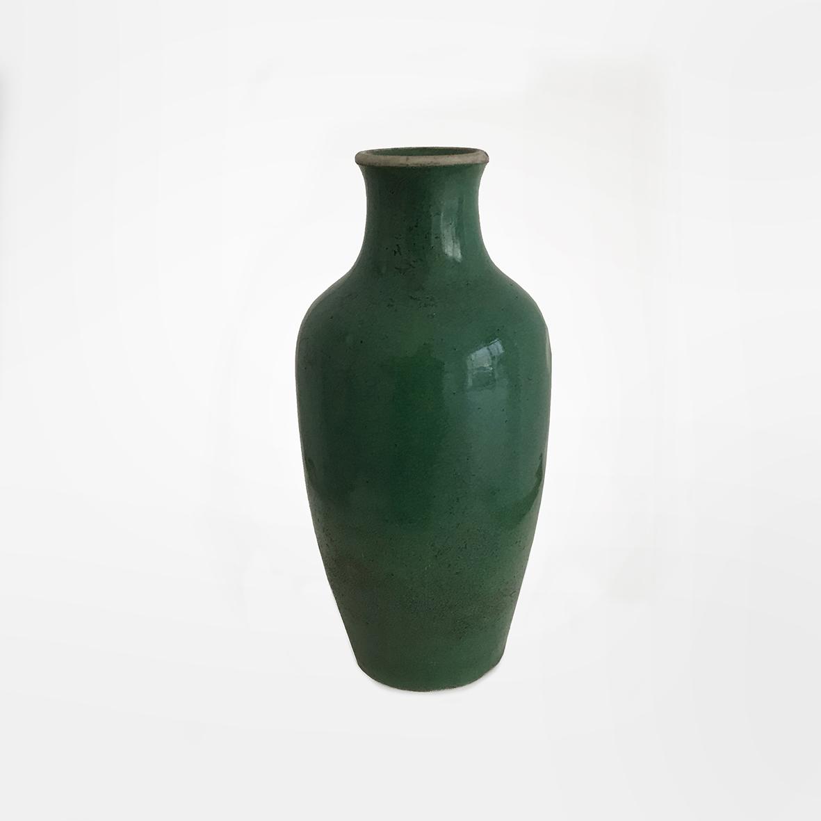 Green bottle vase | Ceramic | China | Kangxi | basedonart gallery