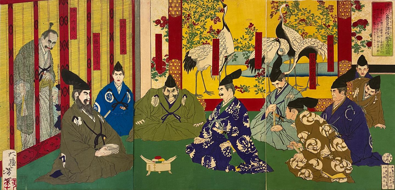 Yoshitoshi Tsukioka | View of a Banquet for the Toyotomi Clan by Lord Tokugawa | woodblock print | Japan 1877 | basedonart gallery